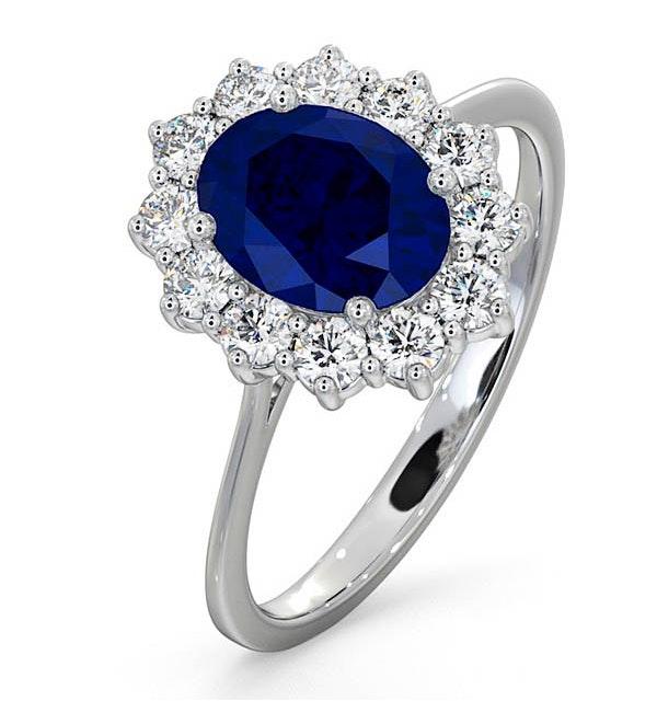 Sapphire 1.55ct And Diamond 0.50ct 18K White Gold Ring - image 1