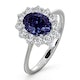 Tanzanite 8 x 6mm And 0.50ct Diamond 18K White Gold Ring - image 1