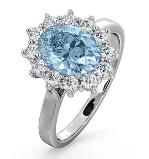 Aquamarine 1.70ct and Diamond 1.00ct Platinum Ring