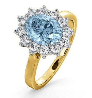 Aquamarine 1.70ct and Diamond 1.00ct 18K Gold Ring