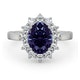 Platinum Tanzanite 9 x 7mm And 1.00ct Diamond Ring - image 2