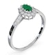 Emerald 5 x 3mm And Diamond 18K White Gold Ring - image 4