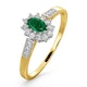 Emerald 5 x 3mm And Diamond 9K Gold Ring  A3203 - image 1