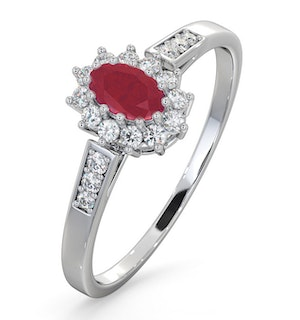 Ruby 5 x 3mm And Diamond 9K White Gold Ring