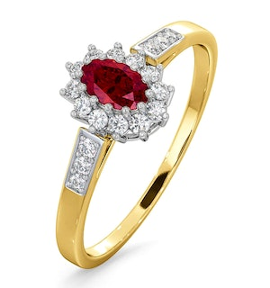 Ruby 5 x 3mm And Diamond 9K Gold Ring  A3351