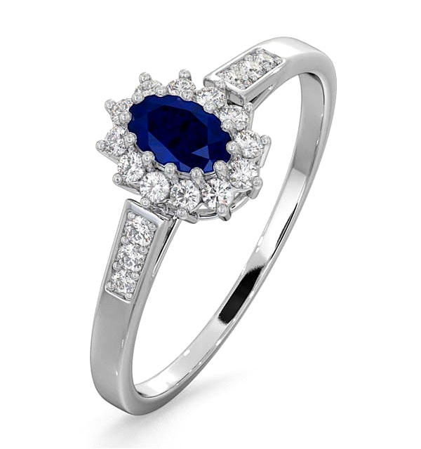Sapphire 5 x 3mm And Diamond 9K White Gold Ring - image 1