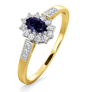Tanzanite 5 x 3mm And Diamond 18K Gold Ring