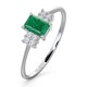 Emerald 6 x 4mm And Diamond 9K White Gold Ring  A3078 - image 1