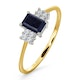 Sapphire 6 x 4mm And Diamond 9K Gold Ring  A3220 - image 1