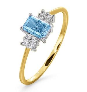 Blue Topaz 6 x 4mm And Diamond Ring 9K Yellow Gold