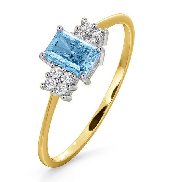 Blue Topaz 6 x 4mm And Diamond Ring 9K Yellow Gold - image 1
