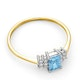 Blue Topaz 6 x 4mm And Diamond Ring 9K Yellow Gold - image 4