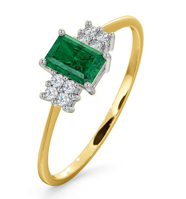 Emerald 6 x 4mm And Diamond 18K Gold Ring - image 1
