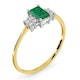 Emerald 6 x 4mm And Diamond 18K Gold Ring - image 3