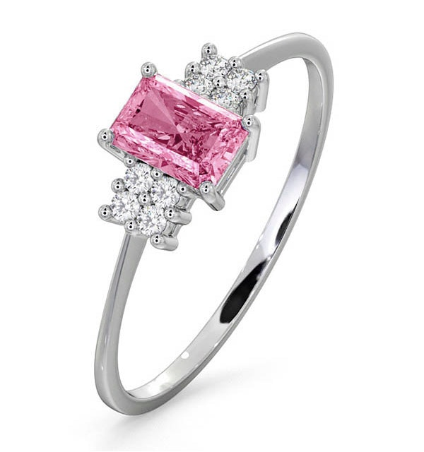 18K White Gold Diamond and Pink Sapphire Ring 0.06ct - image 1