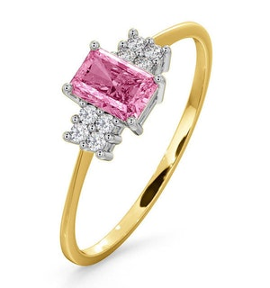 18K Gold Diamond and Pink Sapphire Ring 0.06ct