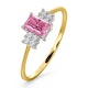 18K Gold Diamond and Pink Sapphire Ring 0.06ct - image 1