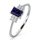 Tanzanite 6 x 4mm And Diamond 18K White Gold Ring  FET37-VY - image 1
