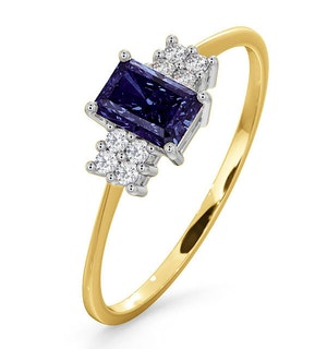 Tanzanite 6 x 4mm And Diamond 18K Gold Ring  FET37-V