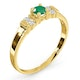 Emerald 3.75mm And Diamond 9K Gold Ring - image 3