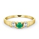 Emerald 3.75mm And Diamond 9K Gold Ring - image 2