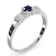 Sapphire 3.75mm And Diamond 9K White Gold Ring - image 3