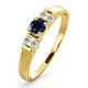 Kanchan Sapphire 3.75mm And Diamond 9K Gold Ring - image 1