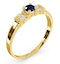 Kanchan Sapphire 3.75mm And Diamond 9K Gold Ring - image 3