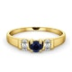 Kanchan Sapphire 3.75mm And Diamond 9K Gold Ring - image 2