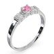 Pink Sapphire and 0.10ct Diamond Ring 9K White Gold - image 3