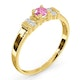Pink Sapphire and Diamond Ring 9K Yellow Gold - image 3