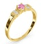 18K Gold Diamond and Pink Sapphire Ring 0.10ct - image 2