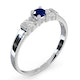 Sapphire 3.75mm And Diamond 18K White Gold Ring - image 3