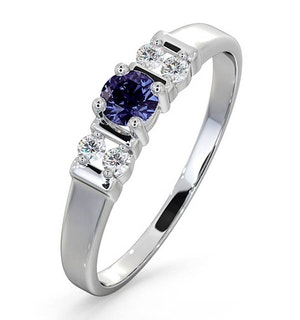 Tanzanite 3.75mm And Diamond 9K White Gold Ring
