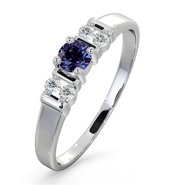 Tanzanite 3.75mm And Diamond 9K White Gold Ring - image 1