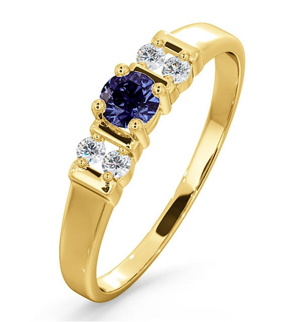 Tanzanite 3.75mm And Diamond 9K Gold Ring - image 1