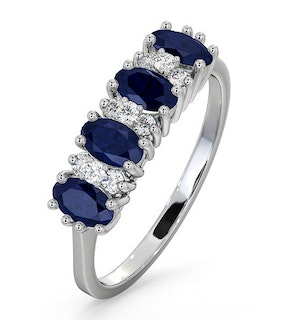 Sapphire 5 x 3mm And Diamond 9K White Gold Ring  A4452