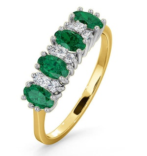 Emerald 0.94ct And Diamond 18K Gold Ring