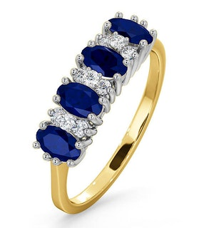 Sapphire 5 x 3mm And Diamond 18K Gold Ring  FET39-U