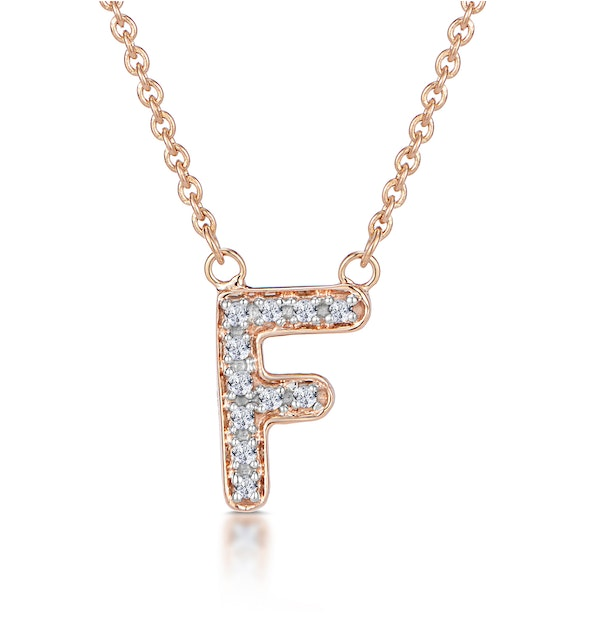 Initial 'F' Necklace Diamond Encrusted Pave Set in 9K Rose Gold - image 1