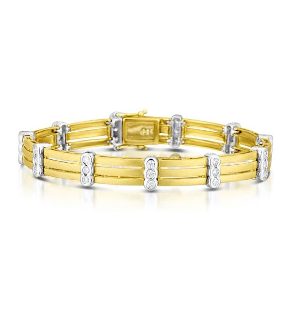 9K Two Tone Diamond Bracelet - image 1