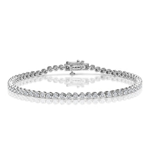Diamond Tennis Bracelet Rubover Style 1.00ct 9K White Gold