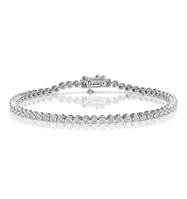 Diamond Tennis Bracelet Rubover Style 1.00ct 9K White Gold - image 1