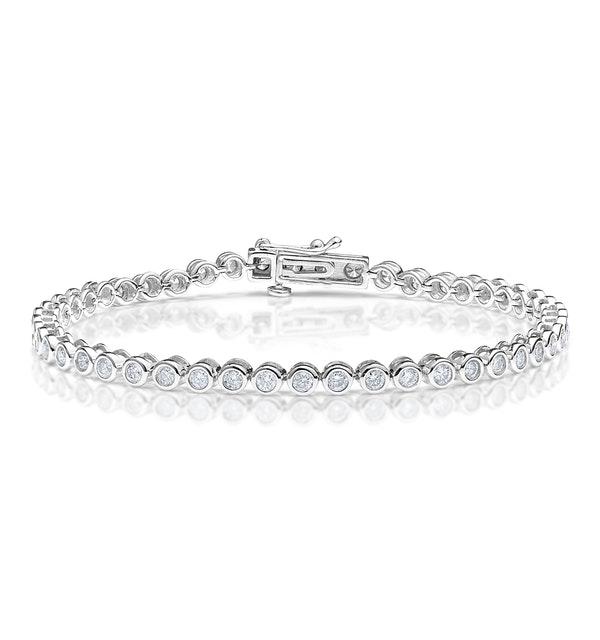 Diamond Tennis Bracelet Rubover Style 3.00ct 9K White Gold - image 1