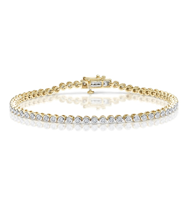Diamond Tennis Bracelet Rubover Style 1.00ct 9K Gold - image 1