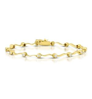 9K Gold Diamond Rubover Wavy Style Bracelet