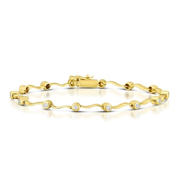 9K Gold Diamond Rubover Wavy Style Bracelet - image 1