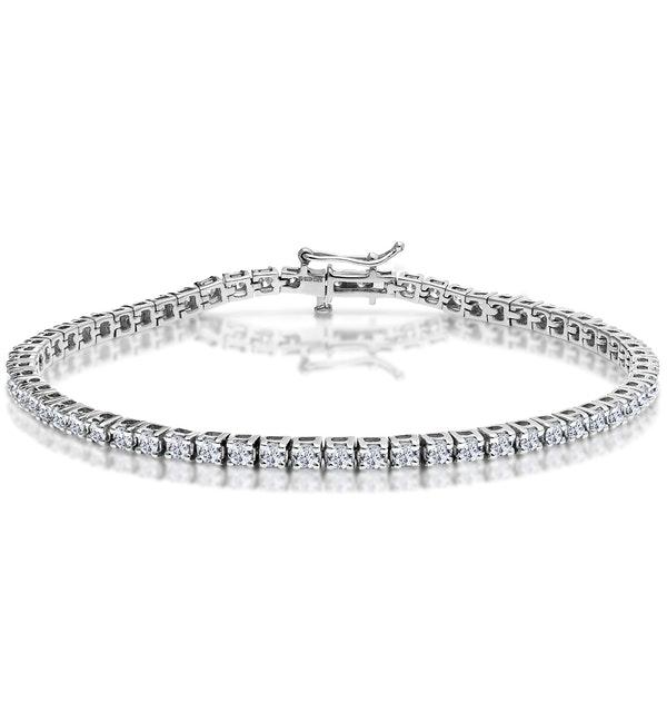 3ct Diamond Tennis Bracelet Claw Set in 9K White Gold - image 1