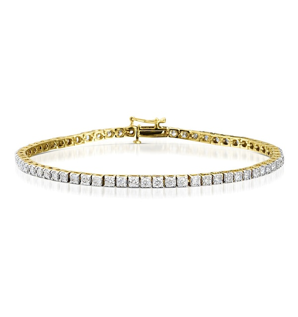4ct Diamond Tennis Bracelet Claw Set in 9K Yellow Gold - image 1