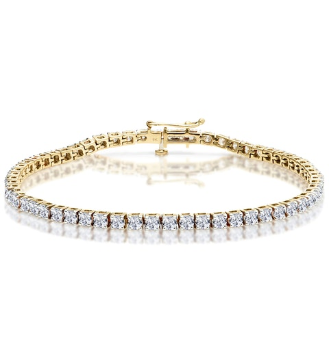 5ct Diamond Tennis Bracelet Claw Set in 9K Yellow Gold - image 1
